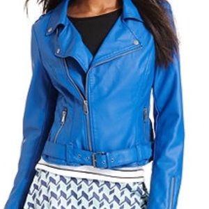 Bar III Faux Leather Blue Jacket Sz M